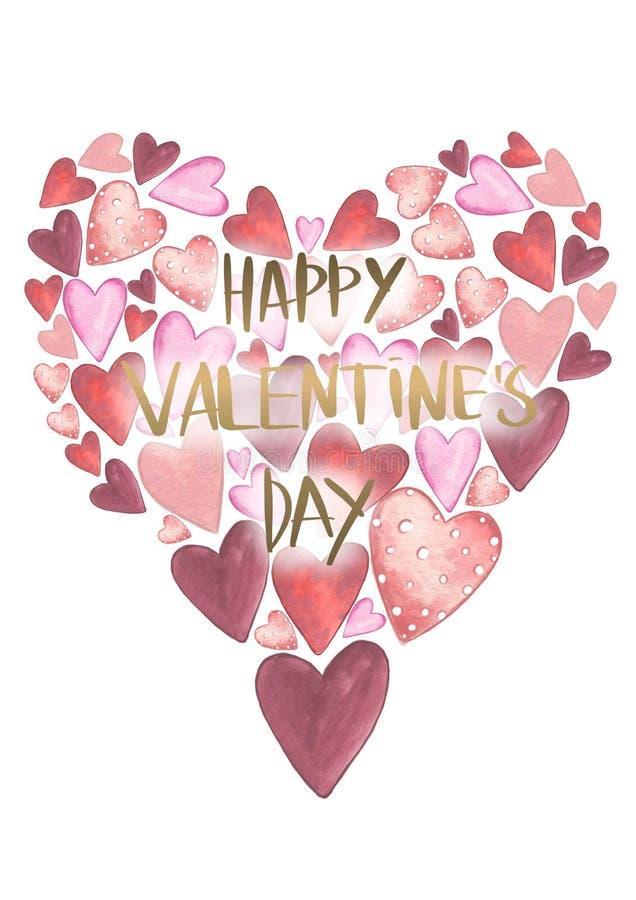 Rosa rossa Cartolina d'auguri Amore delicato Cuori di colore di acqua e testo disegnati a mano dell'oro royalty illustrazione gratis