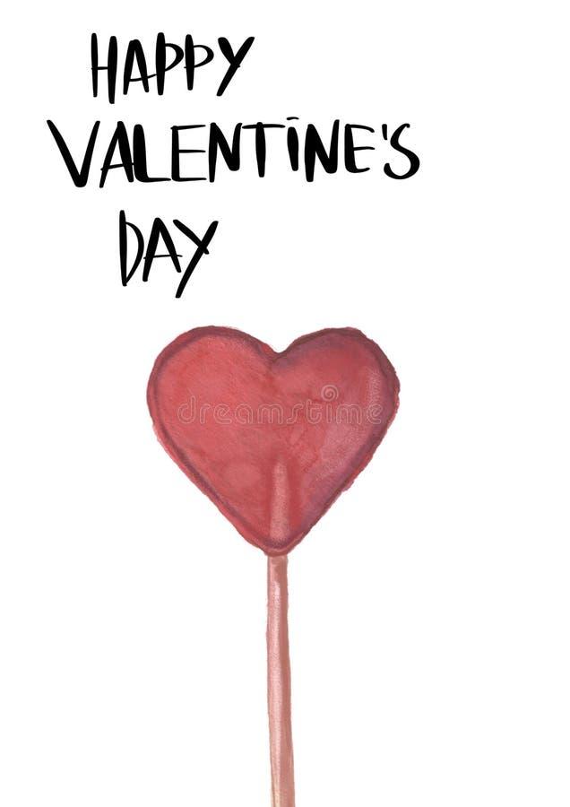 Rosa rossa Cartolina d'auguri Amore delicato Lecca-lecca disegnata a mano di forma del cuore di colore di acqua royalty illustrazione gratis