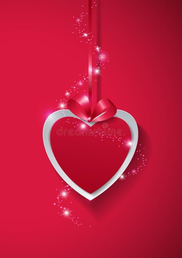 Rosa rossa Cuore di carta con le luci su fondo rosa royalty illustrazione gratis