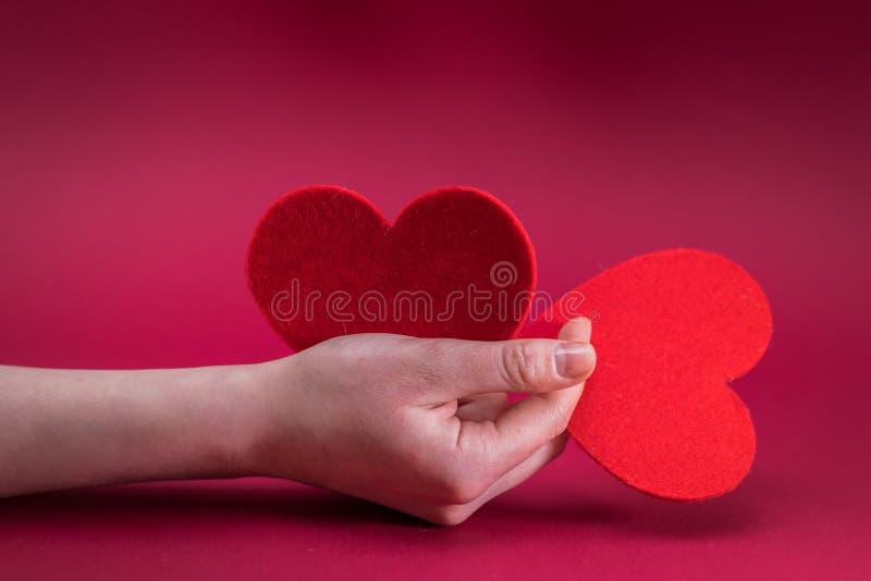 Rosa rossa Cuori rossi Mani femminili che tengono cuore rosso due immagini stock libere da diritti