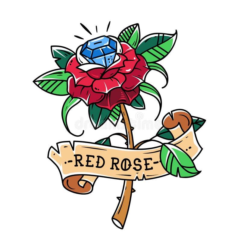 Rosa rossa del tatuaggio con la gemma blu dentro Amore di passione brillante Simbolo di amore Rosa è avvolta in nastro Vecchio ba illustrazione di stock