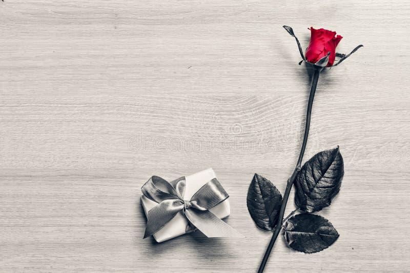 Rosa rossa e un contenitore di regalo con un arco rosa Giorno degli amanti, compleanno Giorno di madri congratulazione fotografia stock libera da diritti