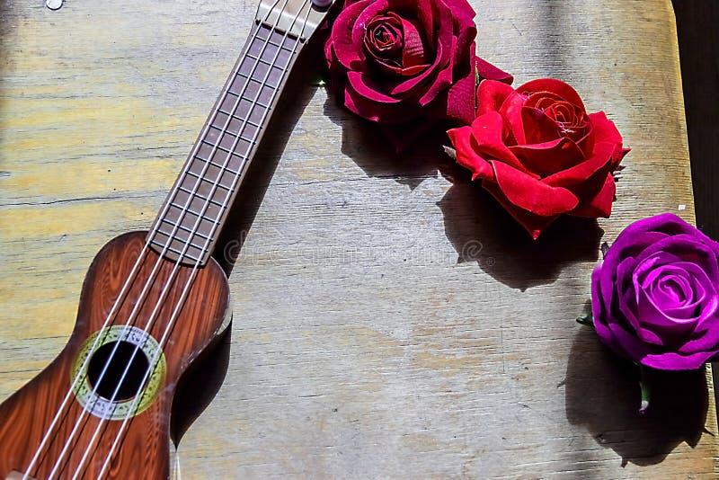 Rosa rossa su un collo e su un fretboard porpora delle ukulele della chitarra fotografia stock libera da diritti
