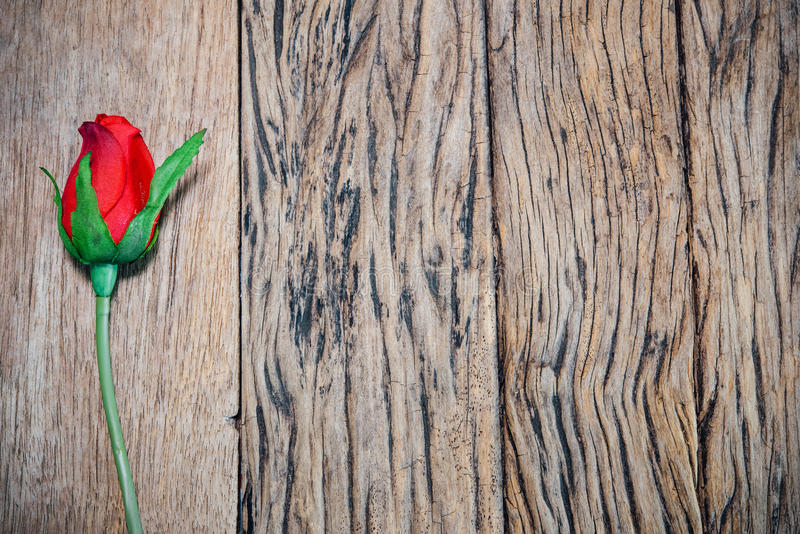 Rosa rossa su vecchio legno, fondo del biglietto di S. Valentino immagini stock