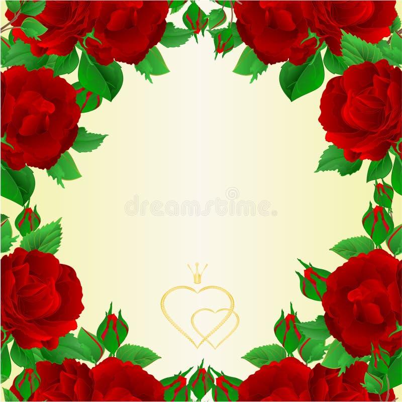 Rosa roxa da beira dois e ilustração festiva do vetor do vintage do cartão dos botões editável ilustração royalty free