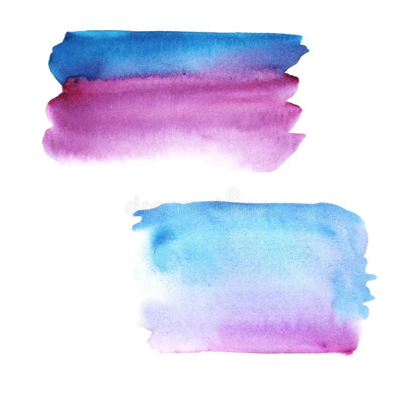 Rosa roxo do fundo da aquarela da abstração e cor azul com inclinação do divórcio fotografia de stock