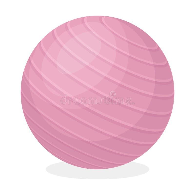 Rosa rubber hurtfrisk boll för övningar Fitball för kondition Utformar den enkla symbolen för idrottshallen och för genomköraren  royaltyfri illustrationer