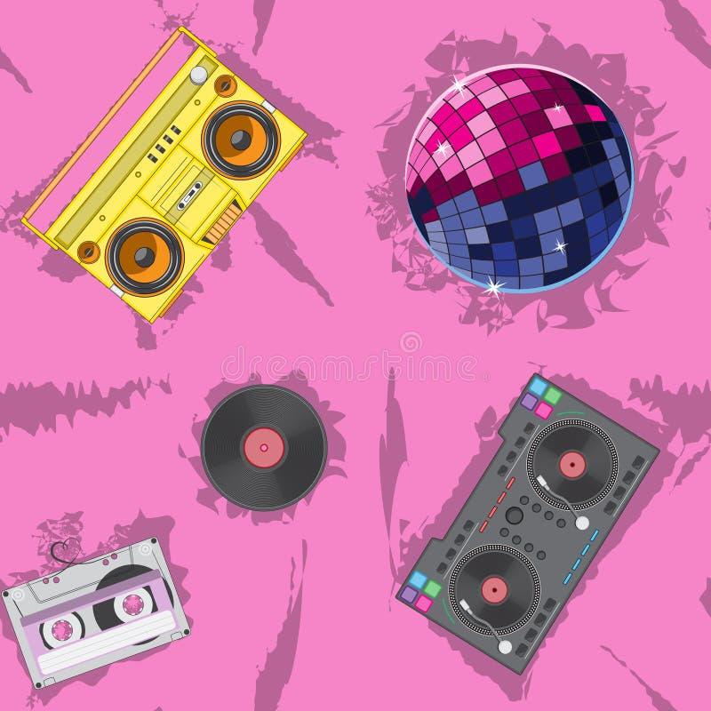 Rosa sömlös boll för disko för spelare för kassett för bandspelare för modellblandarevinyl bl? vektor f?r sky f?r oklarhetsbildre stock illustrationer