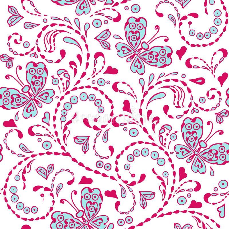 Rosa sömlös dekorativ modell med fjärilshjärtabroderi stock illustrationer