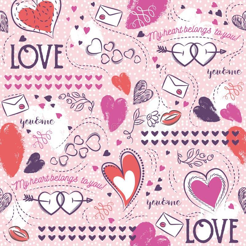 Rosa sömlös mönstrad bakgrund med, röd och blå valentin royaltyfri illustrationer