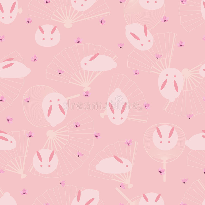 Rosa sömlös modell för japansk kaninfan stock illustrationer