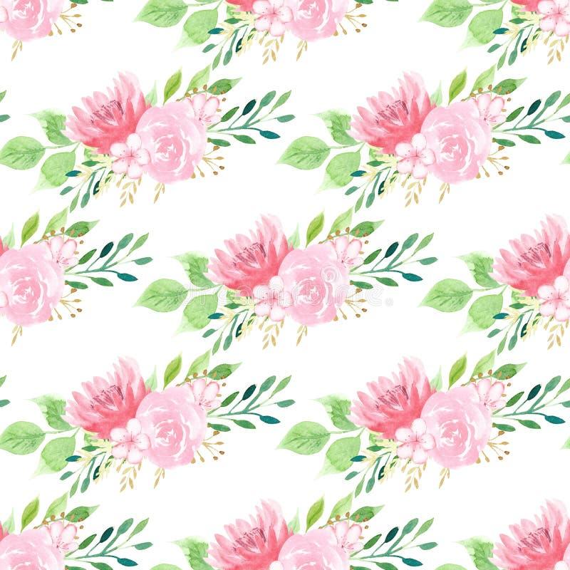 Rosa sömlös modell för lotusblomma- och rosraster stock illustrationer