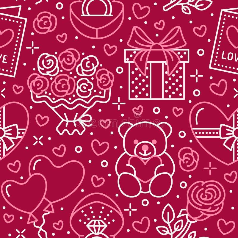 Rosa sömlös modell för valentindag Förälskelse romanslägenhetlinje symboler - hjärtor, choklad, nallebjörn, förlovningsring stock illustrationer