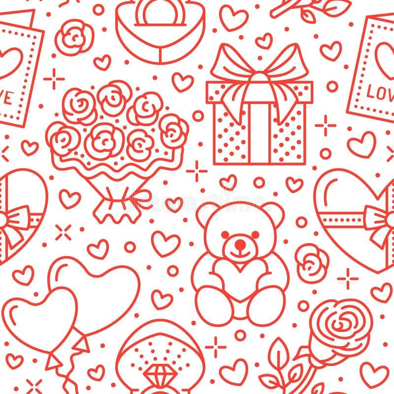 Rosa sömlös modell för valentindag Förälskelse romanslägenhetlinje symboler - hjärtor, choklad, nallebjörn, förlovningsring royaltyfri illustrationer