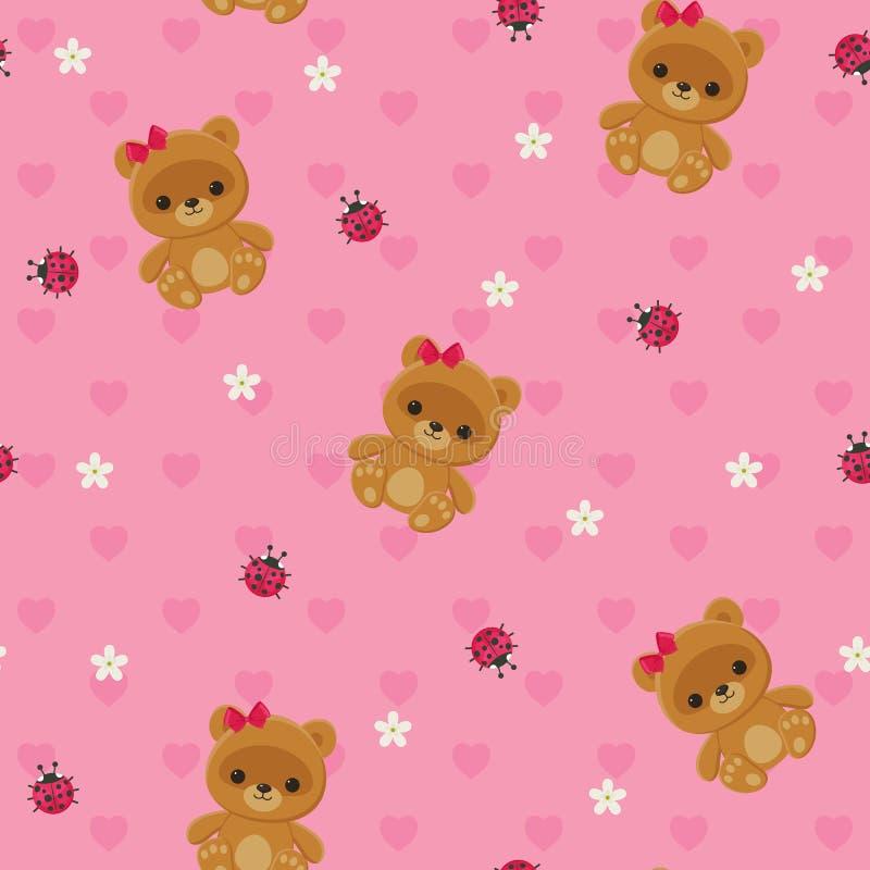 Rosa sömlös modell med nallebjörnen stock illustrationer