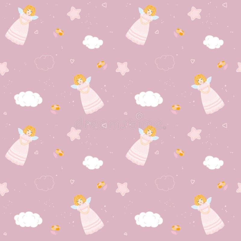 Rosa sömlöst med änglar stock illustrationer