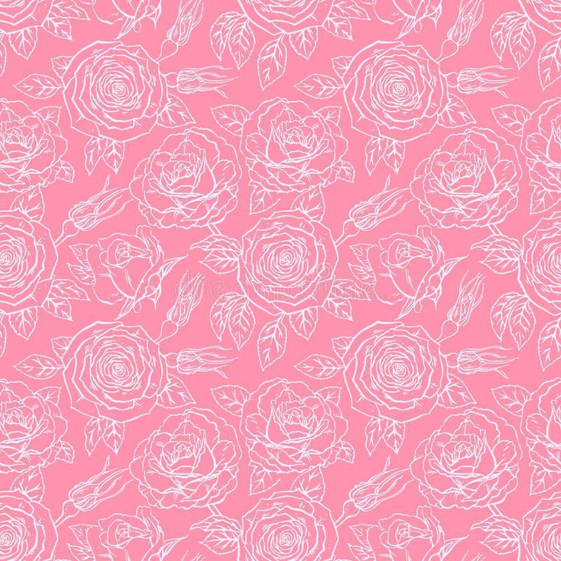 Rosa sömlöst skissar rosor royaltyfri illustrationer