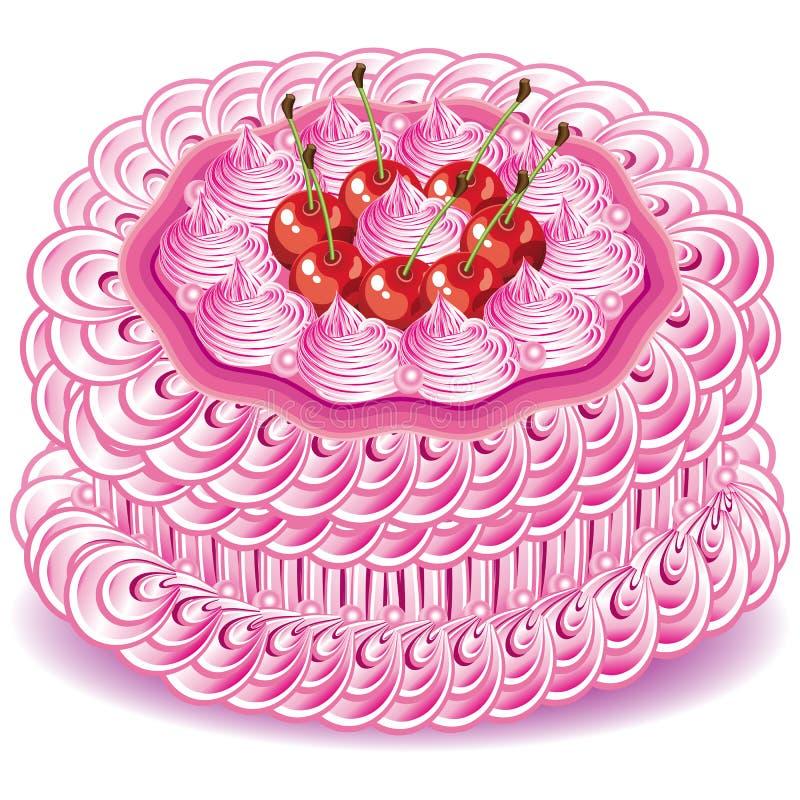 rosa sötsak för cake stock illustrationer