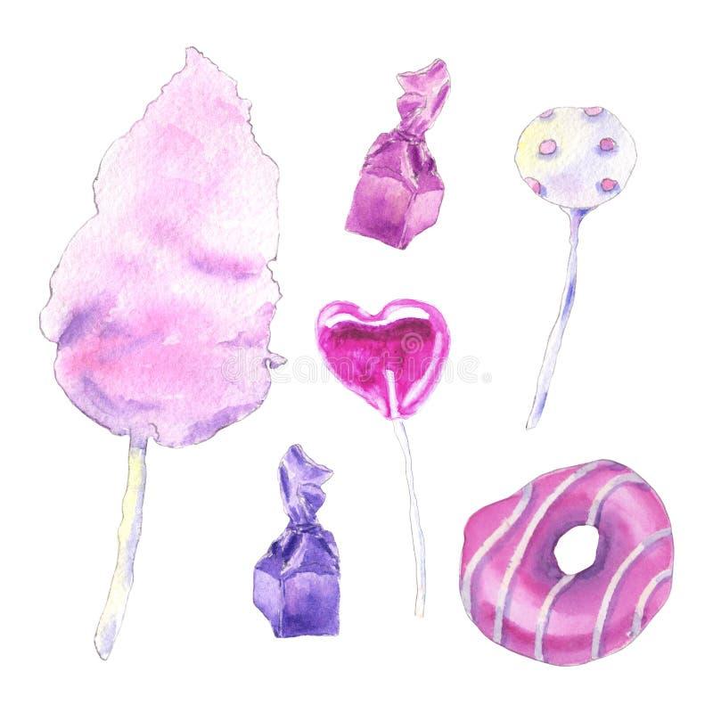Rosa sötsaker för vattenfärg stock illustrationer