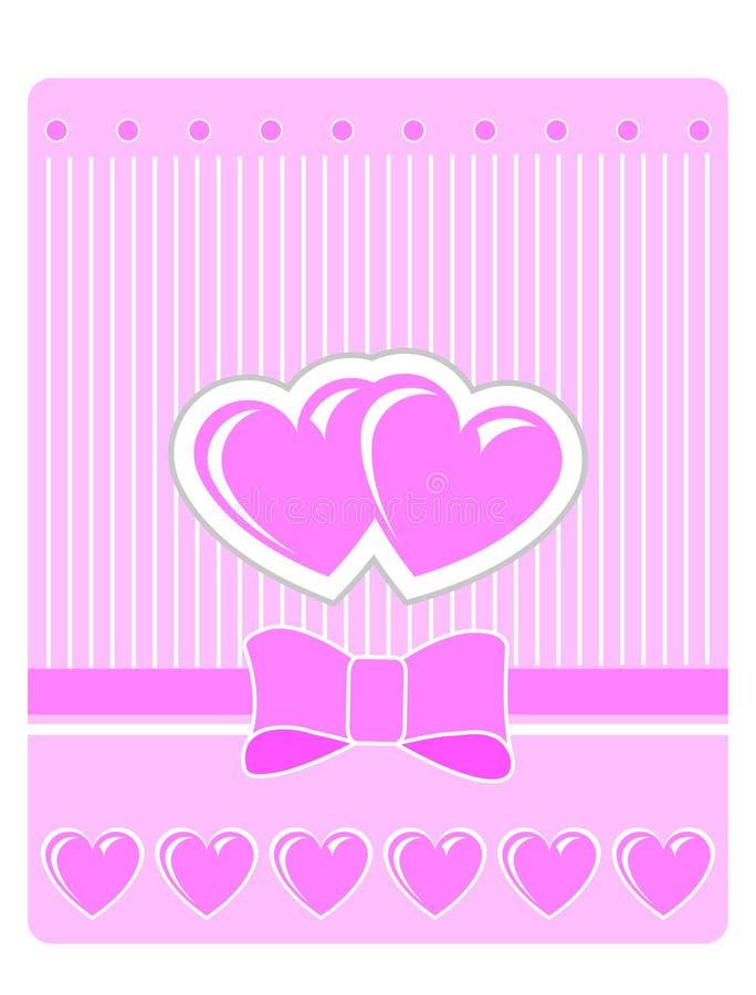 rosa s valentin för korthälsningshjärtor arkivfoto