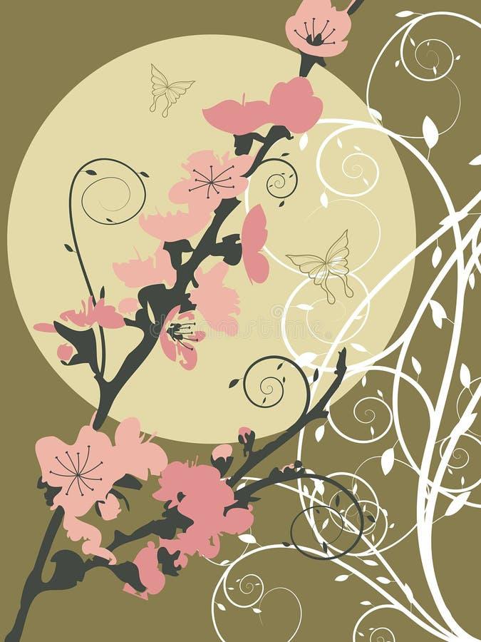 rosa sakura för moon swirl vektor illustrationer