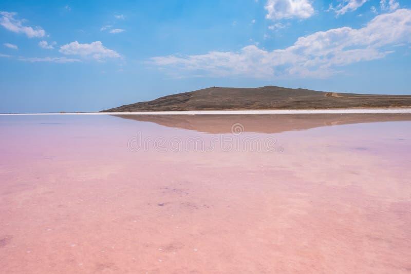 Rosa Salz See Koyashskoe, Krim lizenzfreies stockbild