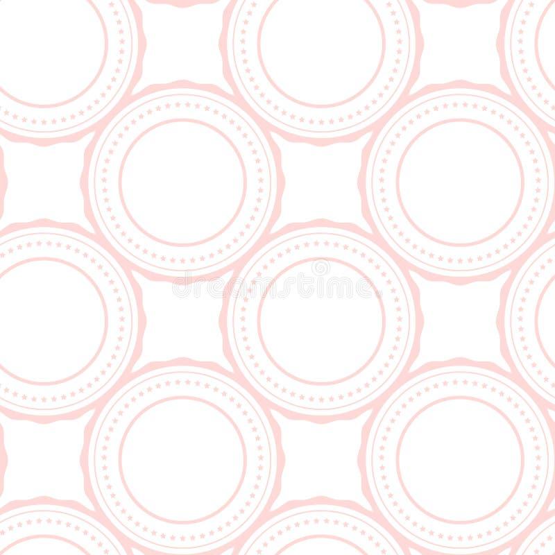 Rosa schellt abstraktes nahtloses Muster auf Weiß lizenzfreie abbildung