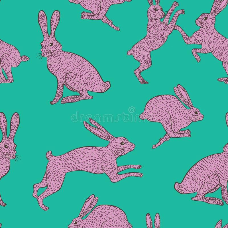 Rosa schrulliges Kaninchenwiederholungsmuster auf einfachem grünem/blauem Hintergrund stockbilder