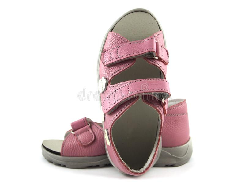 Rosa Schuhe auf weißem Hintergrund stockfotos