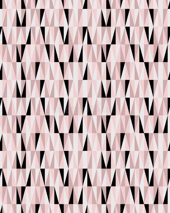 Rosa sem emenda ocasional e teste padrão geométrico preto do vetor dos triângulos ilustração royalty free