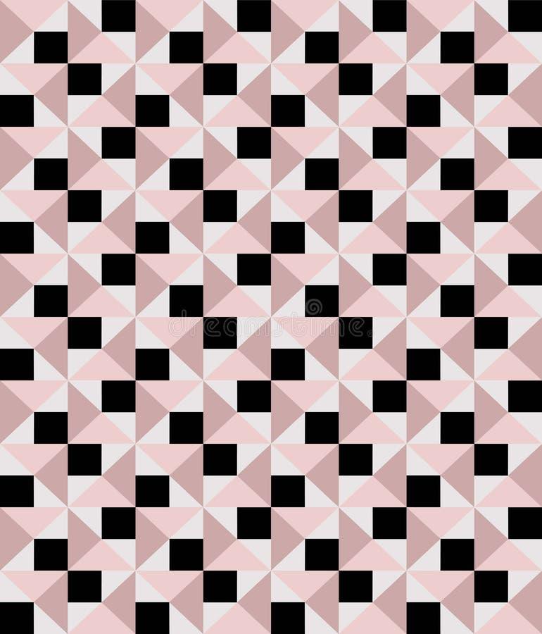 Rosa sem emenda ocasional e teste padrão geométrico preto do vetor ilustração do vetor