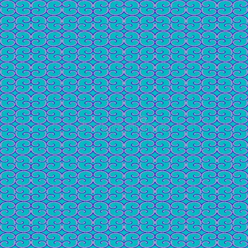 Rosa senza cuciture regolare del blu di turchese del modello di spirali blu scuro royalty illustrazione gratis