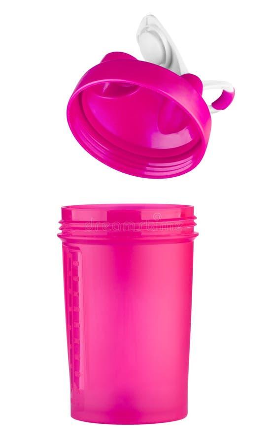 Rosa shaker för sportnäring med ett öppet lock royaltyfri foto