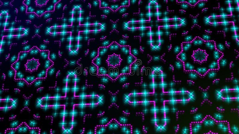 Rosa shinning ligero animado y puntos azules y formas de las estrellas stock de ilustración