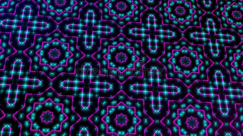Rosa shinning ligero animado y puntos azules y formas de las estrellas ilustración del vector