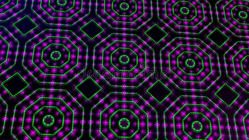 Rosa shinning ligero animado y puntos verdes y formas de las estrellas ilustración del vector