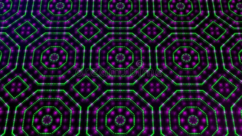 Rosa shinning ligero animado y puntos verdes y formas de las estrellas stock de ilustración