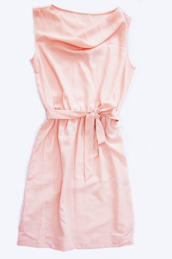 Rosa siden- klänning arkivfoto