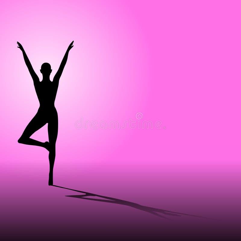 rosa silhouetteyoga för kondition stock illustrationer