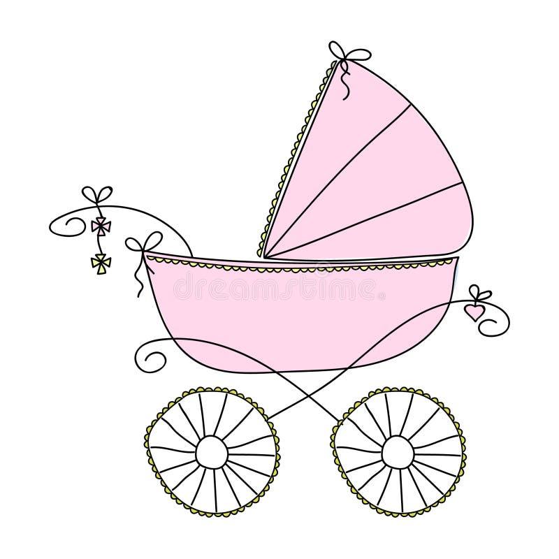 Rosa sittvagn för flickor Vektorfrihandsteckning royaltyfri illustrationer
