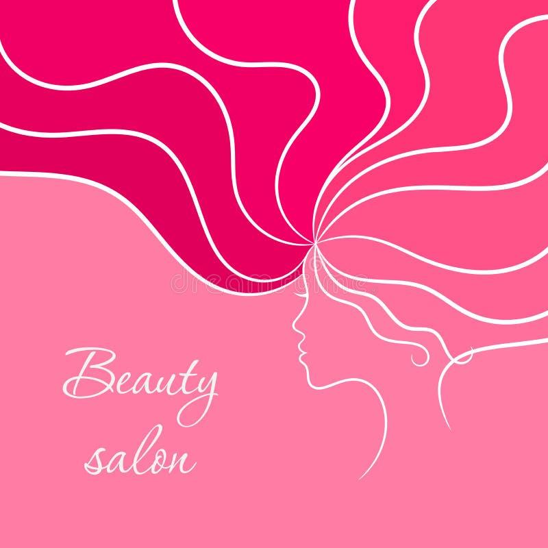 Rosa skönhetkort med kvinnan och hennes frisyr royaltyfri illustrationer