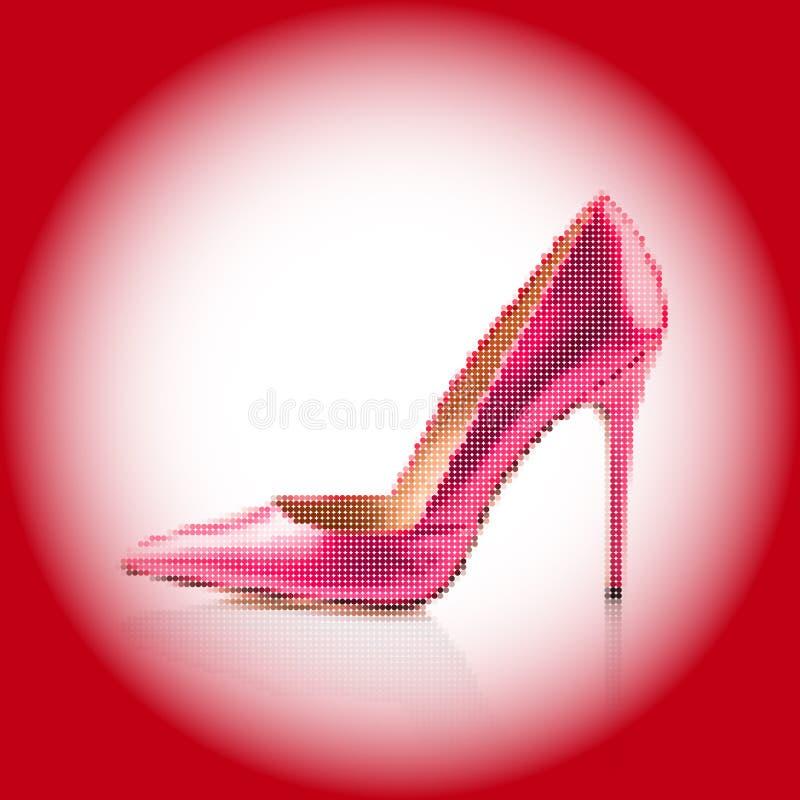 Rosa sko för hög häl stock illustrationer