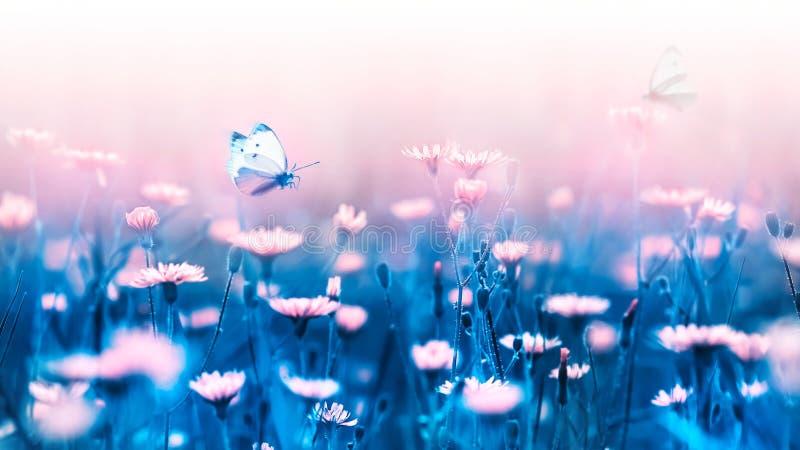 Rosa skogblommor och fjäril på en bakgrund av blåa sidor och stammar Konstnärlig naturlig makrobild royaltyfri fotografi