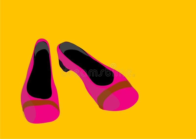 rosa skor stock illustrationer
