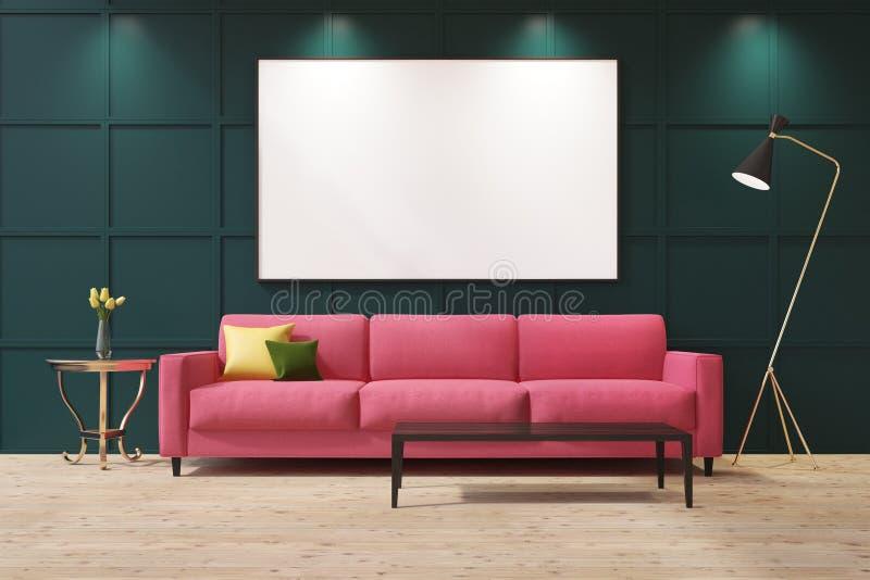 Rosa soffa i en grön vardagsrum royaltyfri illustrationer