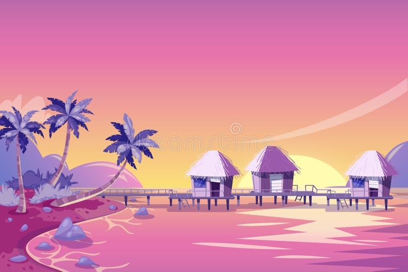 Rosa solnedgånglandskap för tropisk ö missbelåten illustration för pojketecknad film little vektor Gömma i handflatan, stranden o royaltyfri illustrationer