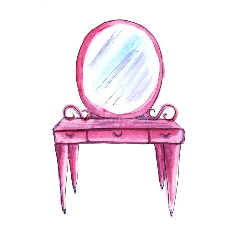 Rosa sovrummöblemang tabell för badrumdressingspegel Hand-dragen vattenfärgillustration bakgrund isolerad white vektor illustrationer