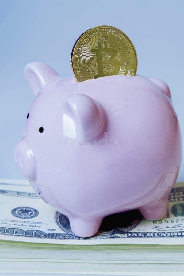Rosa spargris med bitcoin på vit bakgrund som symbol av digital valuta och finansiella transaktioner på internet fotografering för bildbyråer