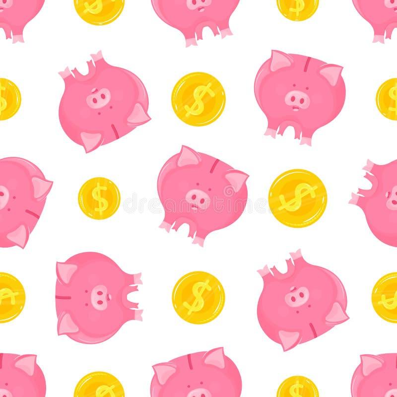 Rosa spargris med den fallande sömlösa modellen för guld- mynt stock illustrationer