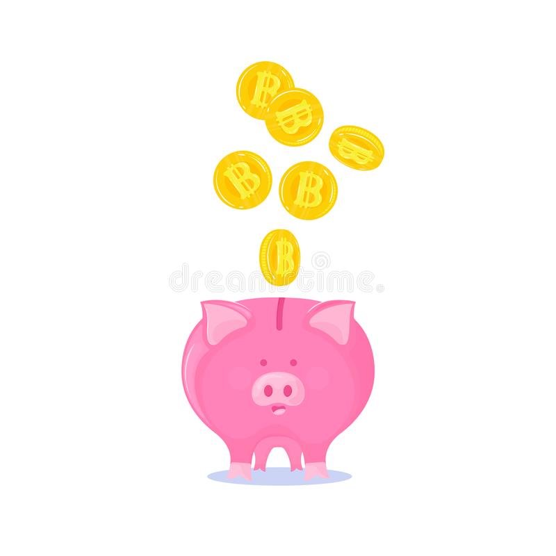Rosa spargris med fallande guld- bitcoinscryptocurrency royaltyfri illustrationer